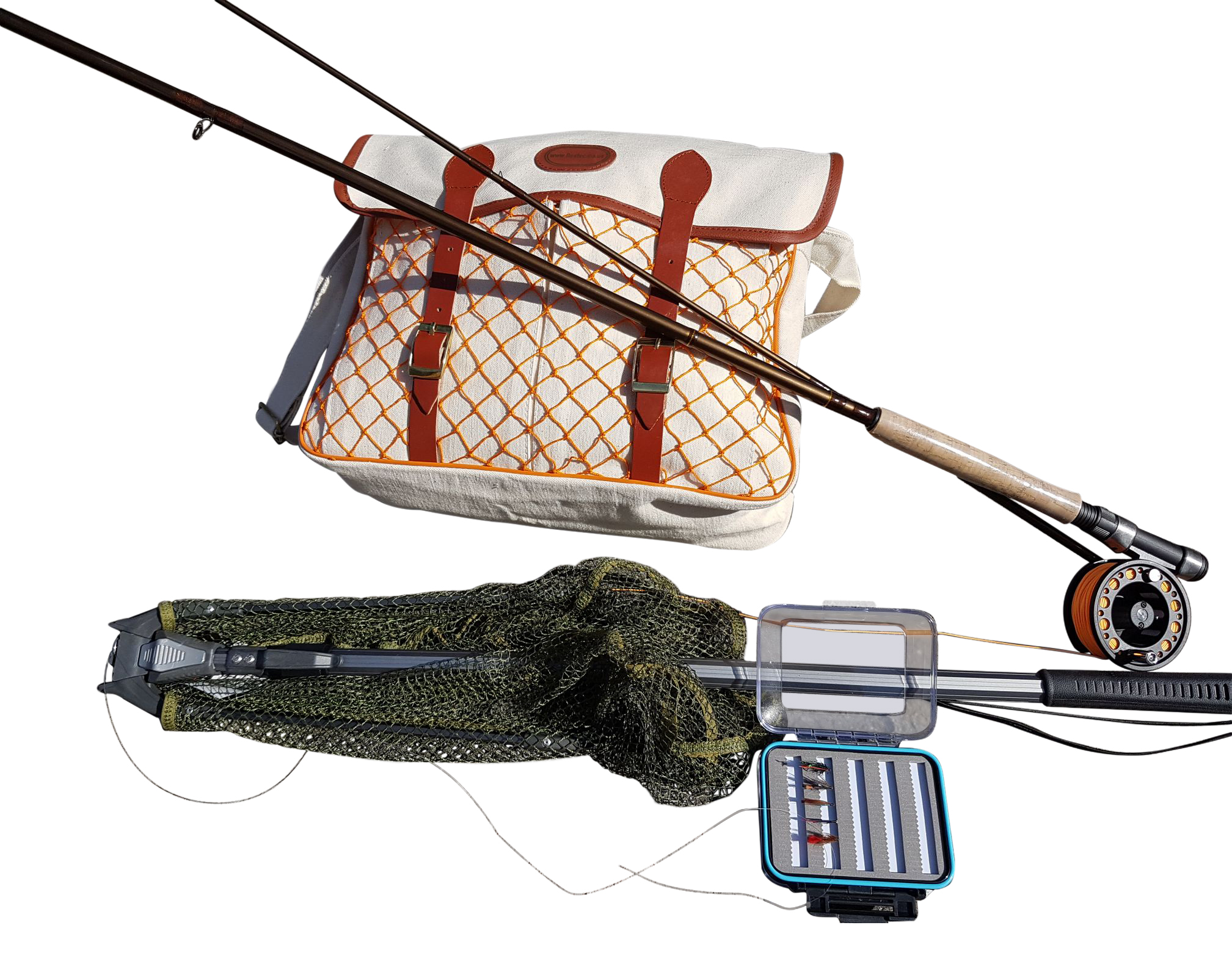 starter beginners fly fishing kit with rod reel landing