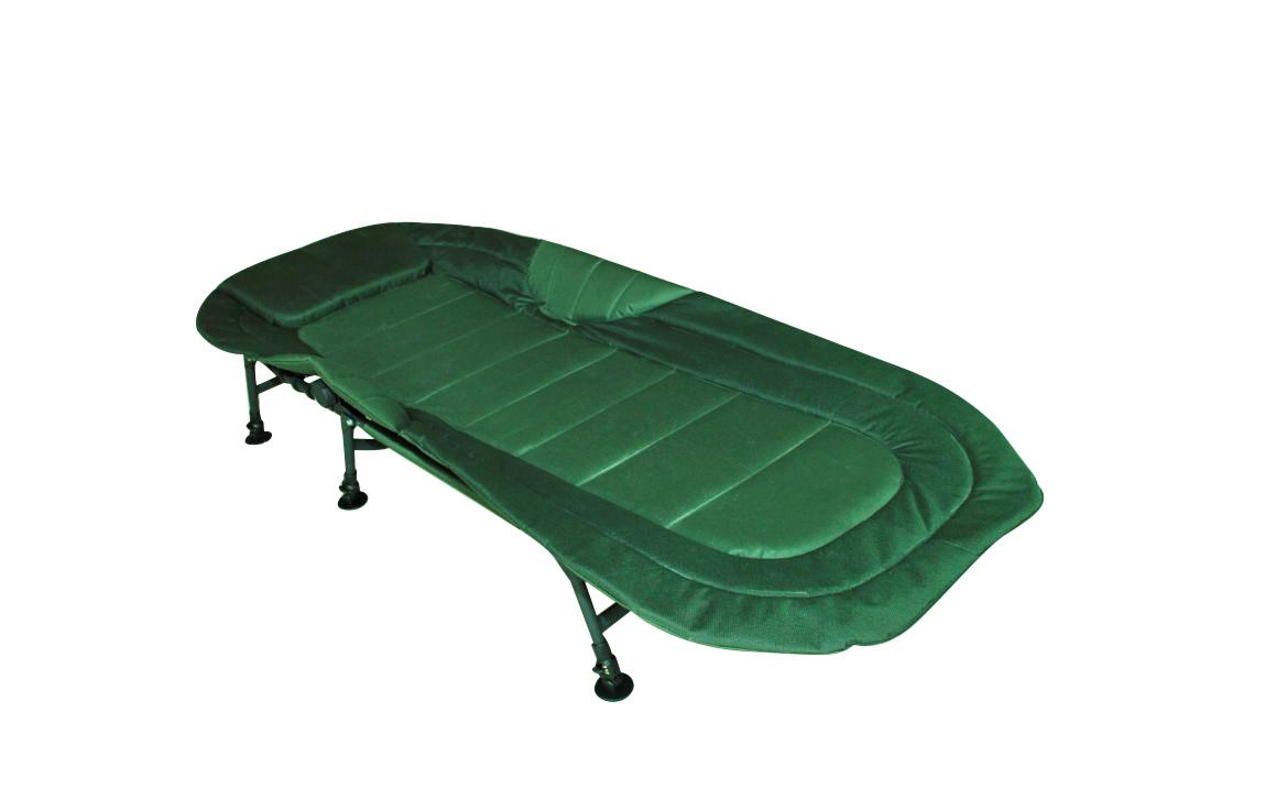 Camping Bed Chair Bedchair 6 Adjustable Legs Inner Cushion Dark Green