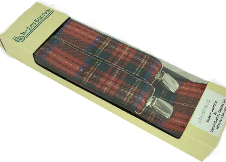Hosenträger in verschiedenen Tartanmustern Hergestellt in Schottland