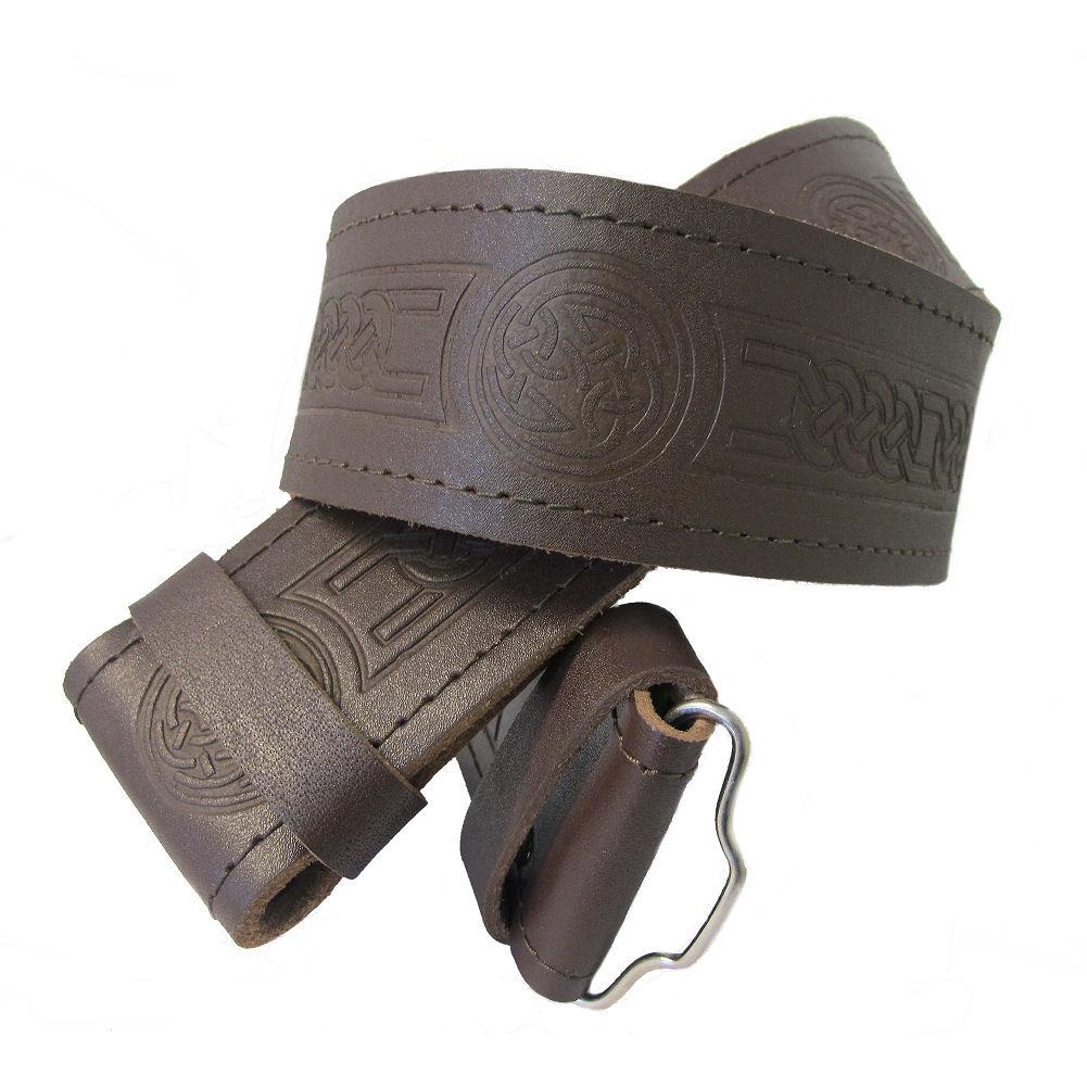 celtic embossed brown leather kilt belt without buckle