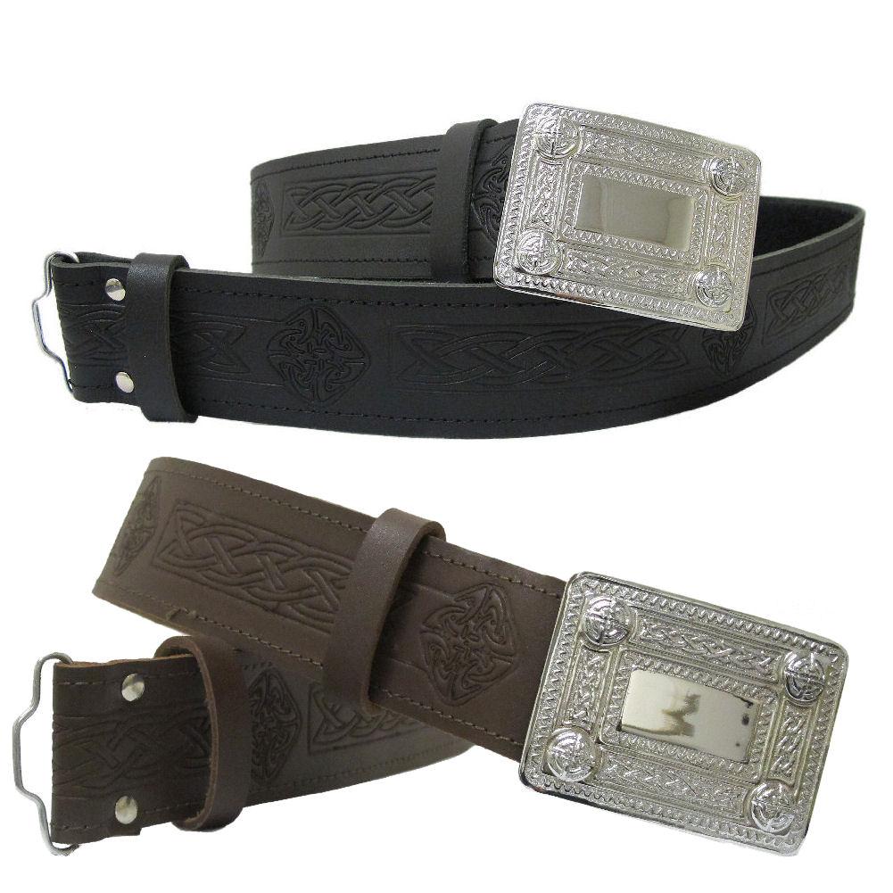 tartanista celtic embossed100 leather kilt belt buckle