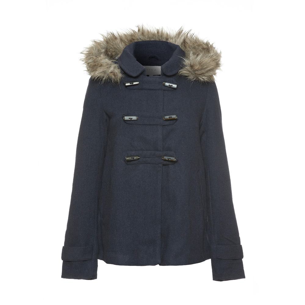 Vila - Navy Blue Captiko Womens Fur Trimmed Duffle Coat | eBay