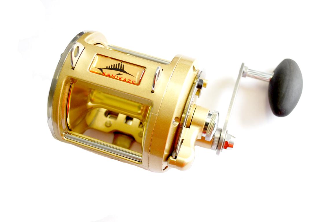 Kamikaze kamld25 lever drag gold game fishing reel ebay for Reel fishing game