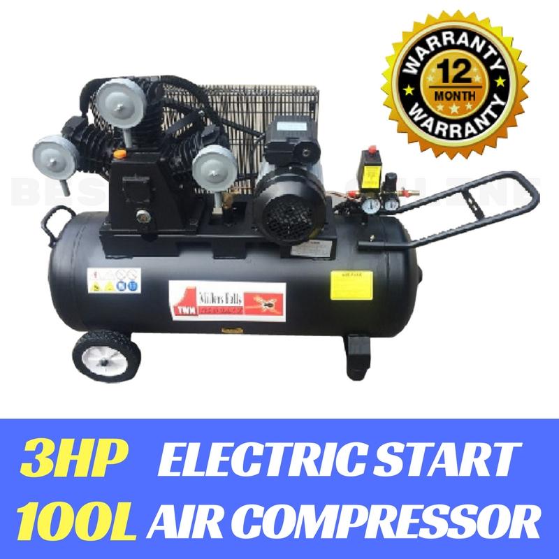 Air Compressor 3hp Electric Motor Belt Drive 3 Cylinder 16cfm 100 Litre Tank Ebay