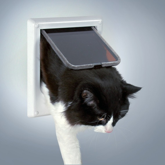 Cat flap, 4 ways, electromagnetic, white, Keeps out unwanted Cats