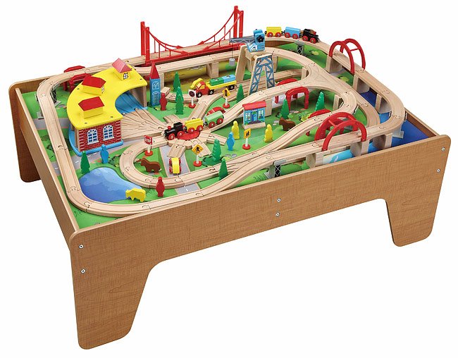 130pcs wooden train set with activity table 50050 brio for 100 piece cityscape train set and wooden activity table
