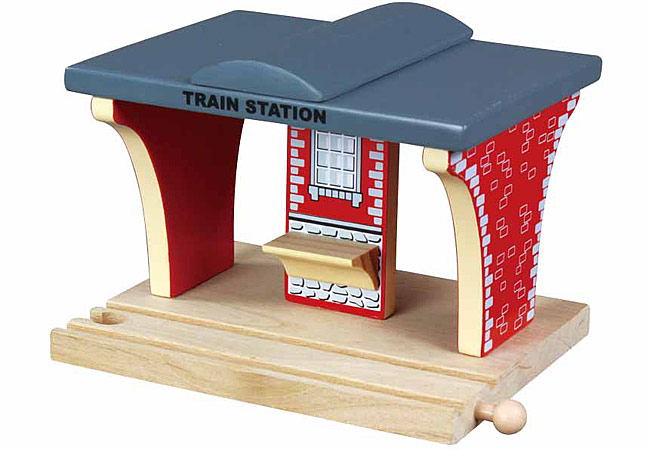 train station for wooden railway train set 50935 brio bigjigs compatible. Black Bedroom Furniture Sets. Home Design Ideas