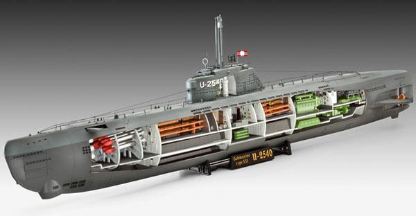 Revell u boat xxi type w interieur 1 144 model kit for Interieur u boat