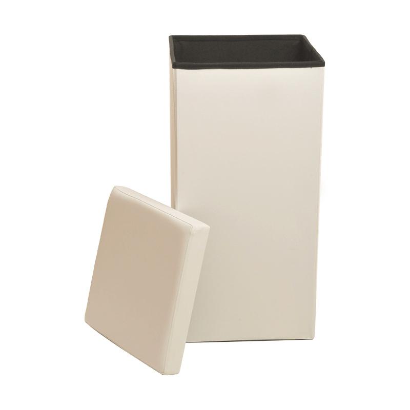 Large Faux Leather Folding Laundry Bin Basket Storage Box