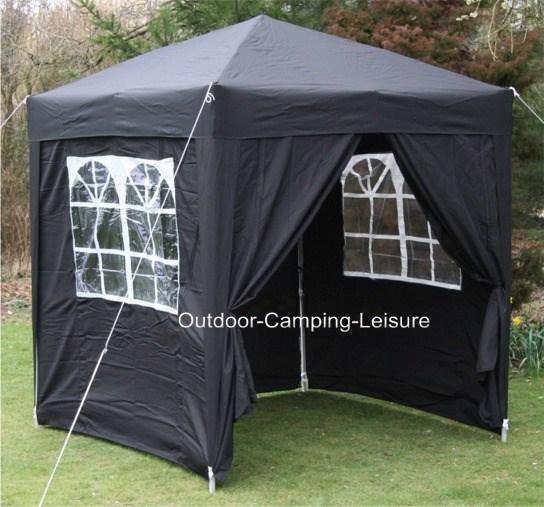 pavillon 2x2m schwarz aufsteller voll wasserfest seiten garten laube ebay. Black Bedroom Furniture Sets. Home Design Ideas