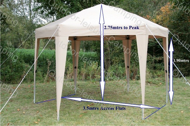 airwave 3 5 meter 6eckig gazebo gartenzelt 6 seiten verkleidung garten pavillon ebay. Black Bedroom Furniture Sets. Home Design Ideas
