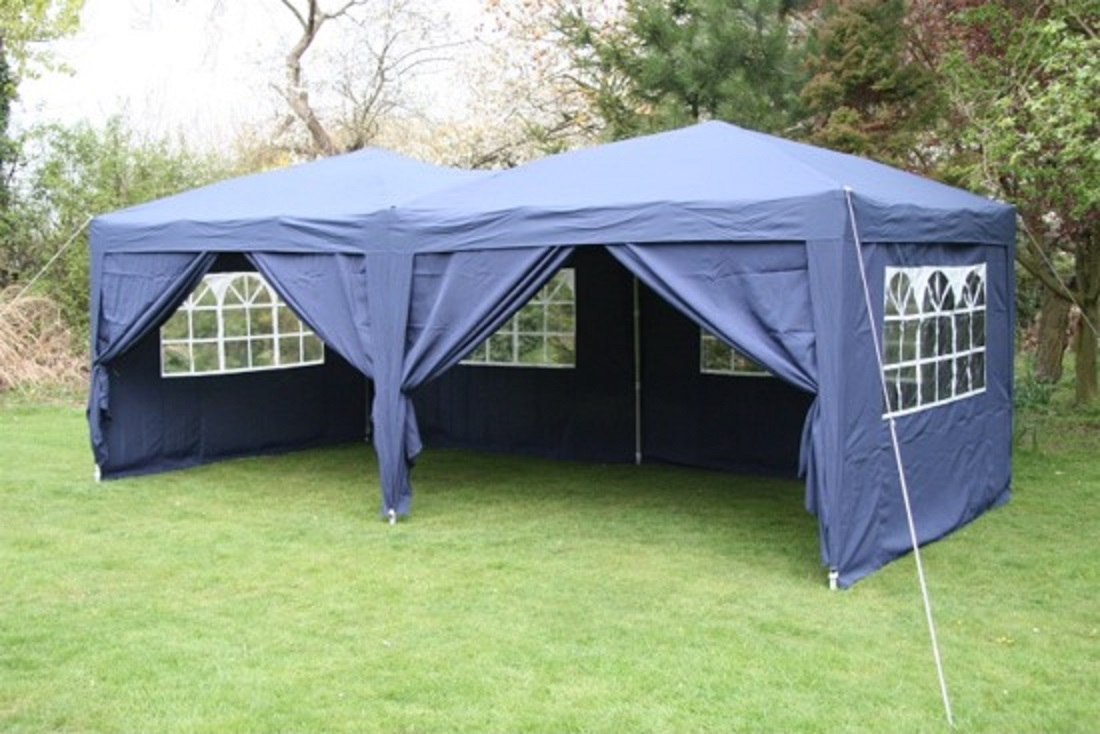 AirWave 6x3m Blue Pop-Up Gazebo, FULLY WATERPROOF,+ Side Walls, Garden Gazebo  eBay