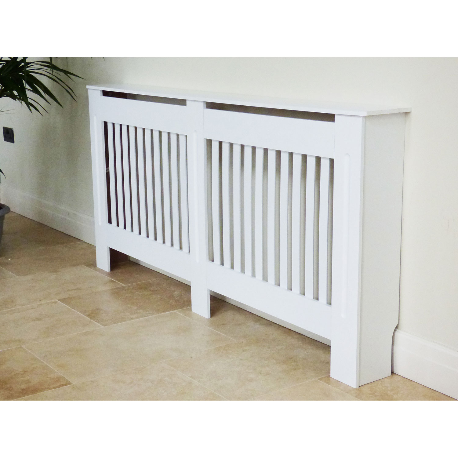 Painted Radiator Cover Cabinet Vertical Modern Style Slats White Mdf Range Sizes Ebay
