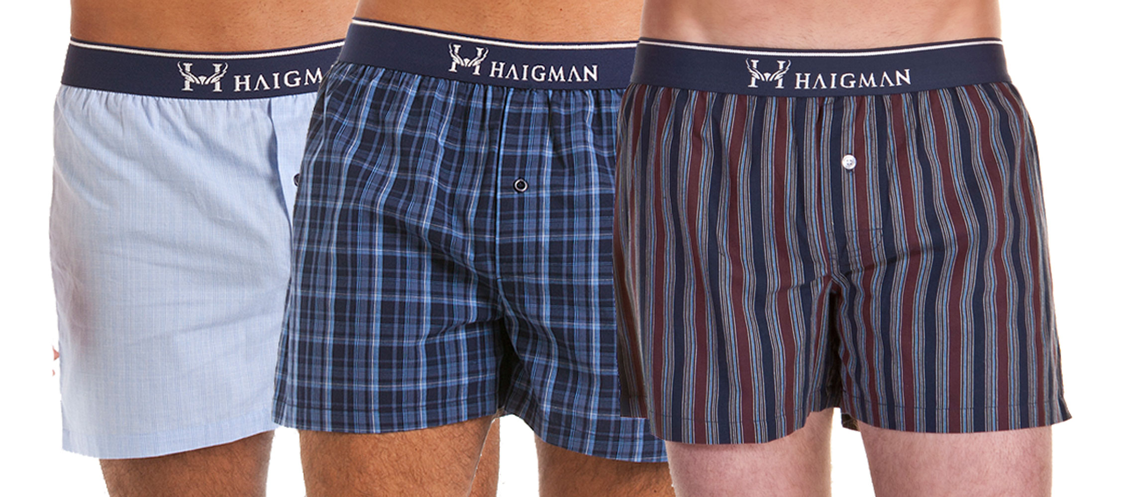 mens haigman woven printed 100 cotton boxer shorts underwear 6 pk ebay. Black Bedroom Furniture Sets. Home Design Ideas
