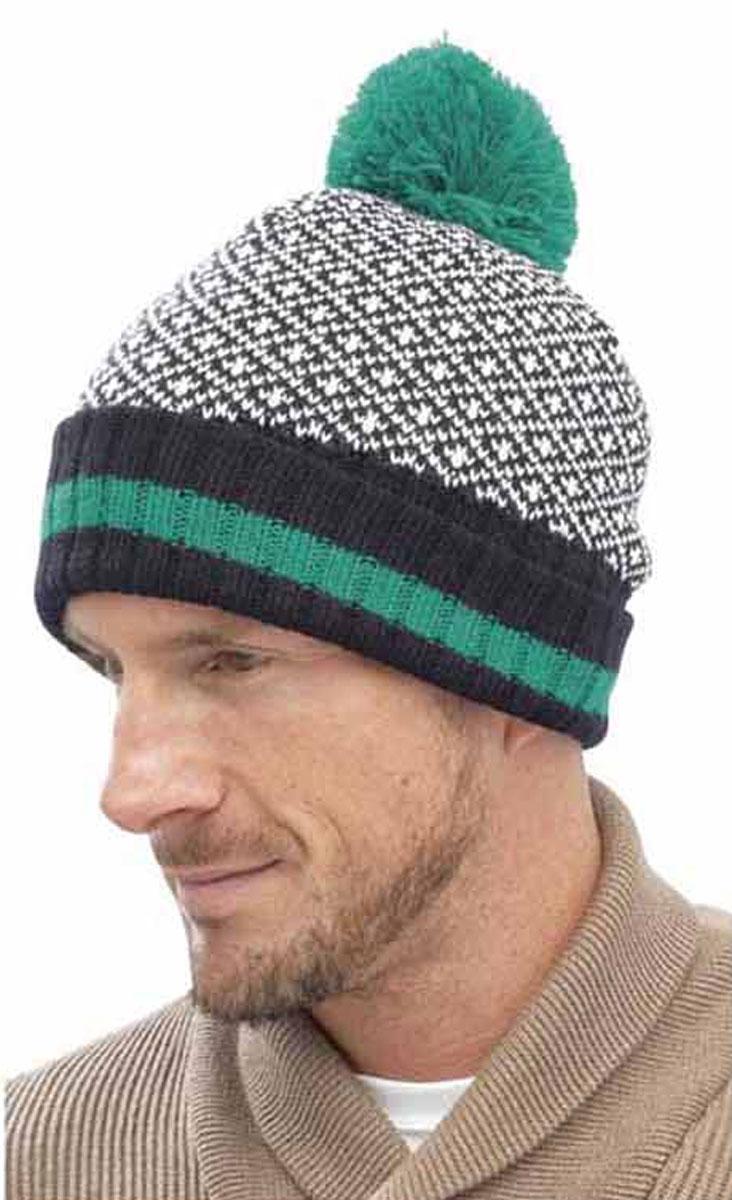 Knitting Pattern Mens Bobble Hat : Mens Fairisle Design Chunky Knitted Warm Winter Bobble ...