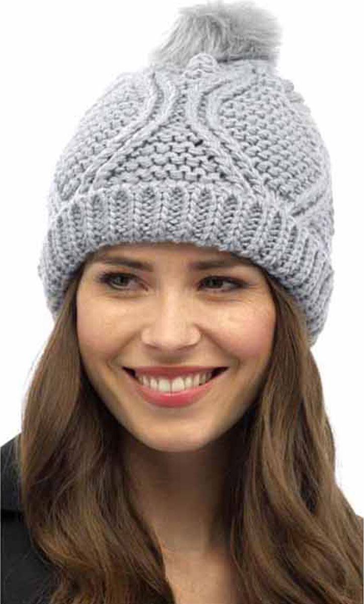 Ladies-Chunky-Cable-Beanie-Hat-With-Pom-Pom-Winter-Thermal-Hat