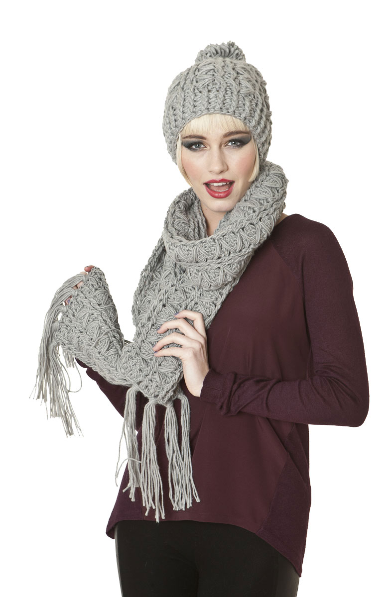 Ladies Knitted Fashion Winter Beanie Hat And Scarf Set Maude Ebay