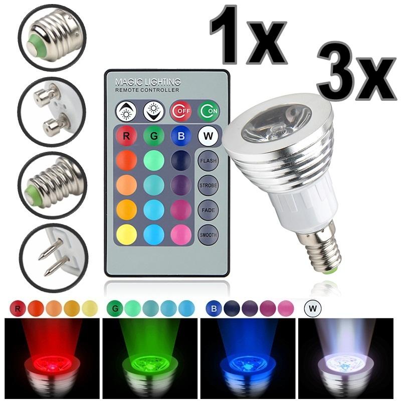 3W 16 Farbwechsel RGB LED Spot Licht Light Lampe IR Fernbedienung ...