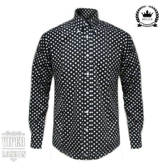 Relco black long sleeve button down mod 60 39 s shirt with for Button down polka dot shirt