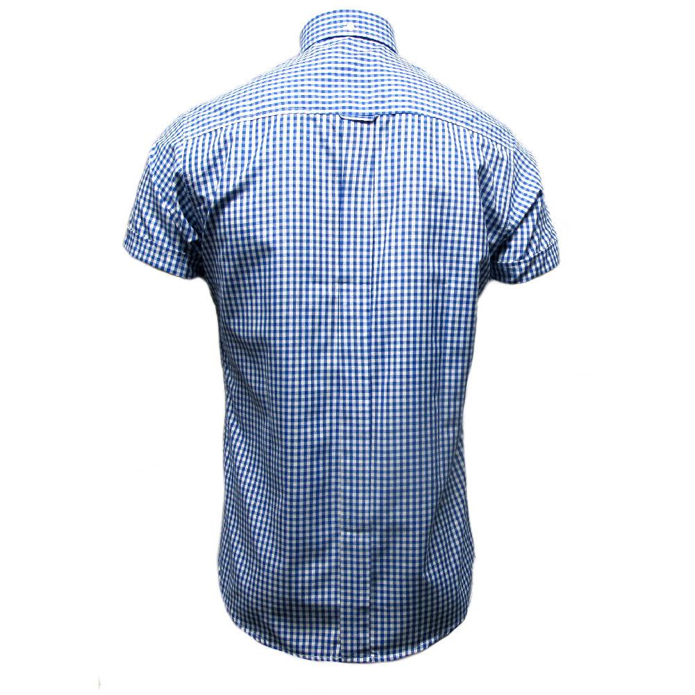 Relco Homme Vichy à Manches Courtes Classique Mod Button Down Shirt