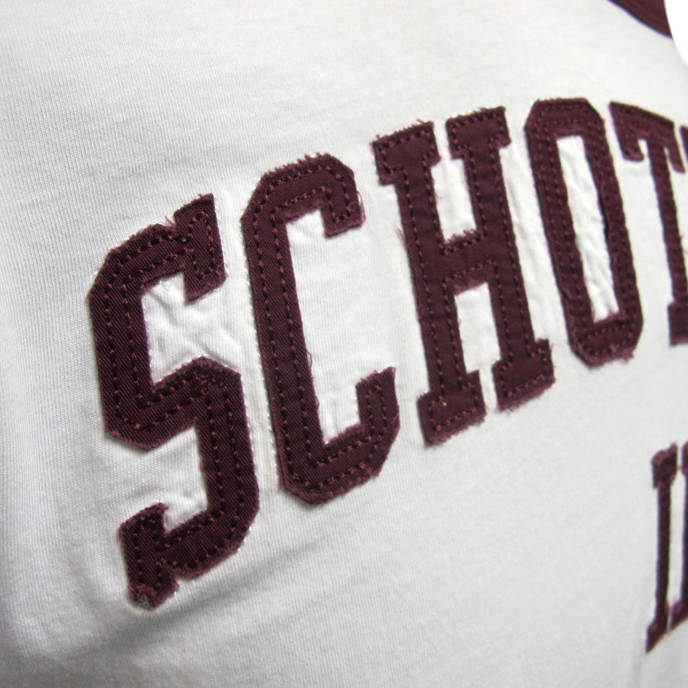 Homme SCHOTT NY blanc avec bordeaux ou bleu marine Stan Bro Inc T-Shirt