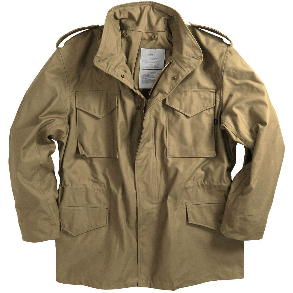 alpha industries m65 combat field jacket in khaki with concealed hood ebay. Black Bedroom Furniture Sets. Home Design Ideas