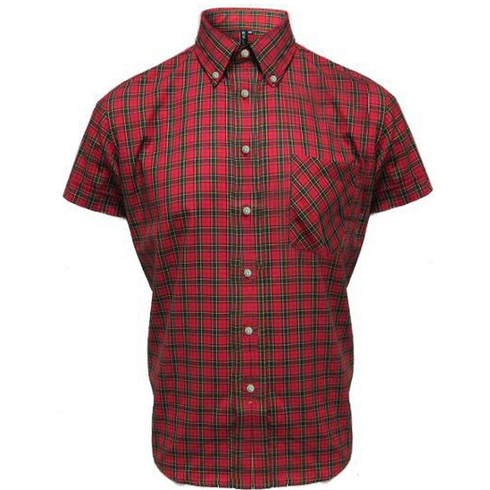 Mens Relco Red Tartan Plaid Short Sleeve Button Down Mod