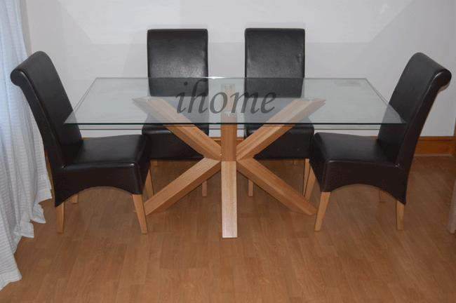 details about venice 5ft solid oak glass dining table 6 chairs new