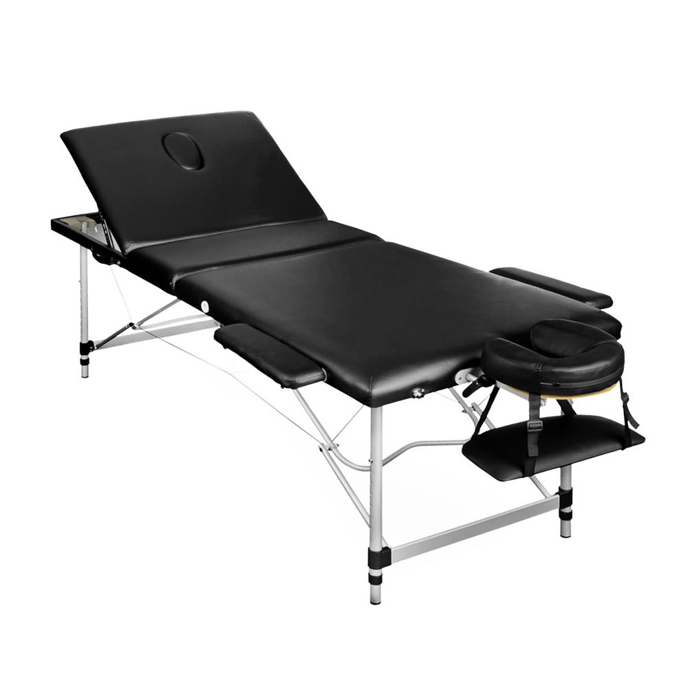Portable aluminium 3 fold massage table chair bed black for Table bed chair
