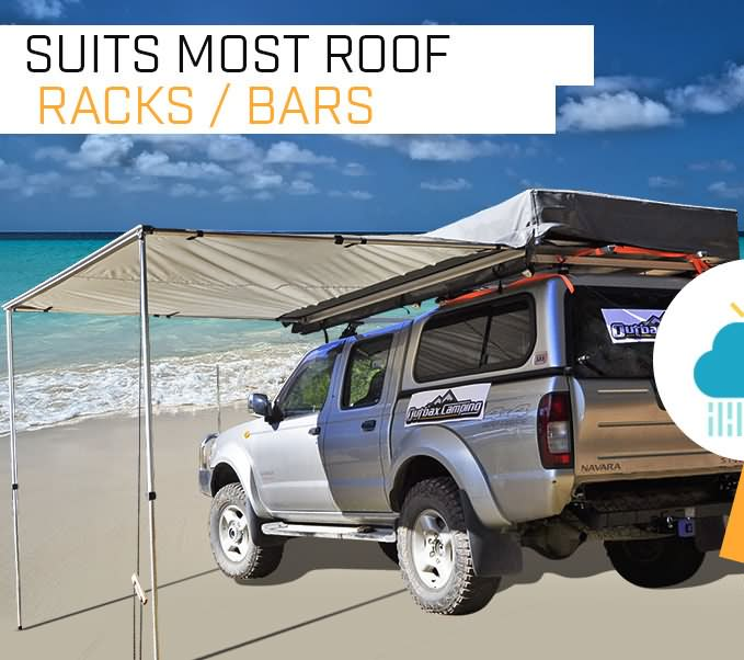 2.0M AWNING ROOF TOP TENT CAMPER TRAILER 4WD 4X4 SIDE CAMPING CAR RACK Pull Out