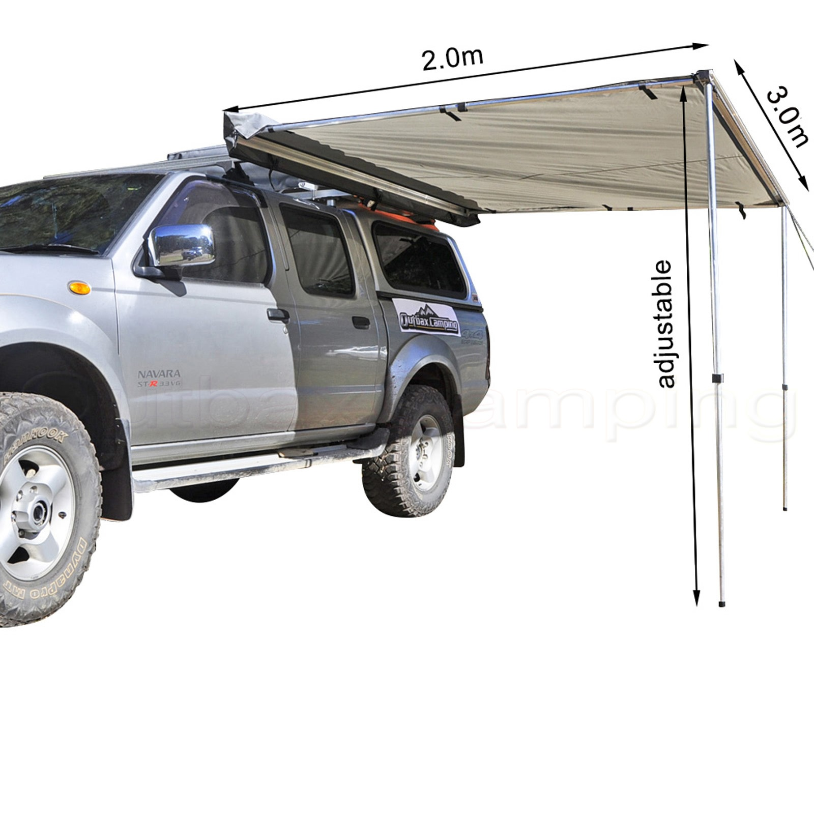 3M AWNING ROOF TOP TENT CAMPER TRAILER 4WD 4X4 SIDE CAMPING CAR RACK Pull Out