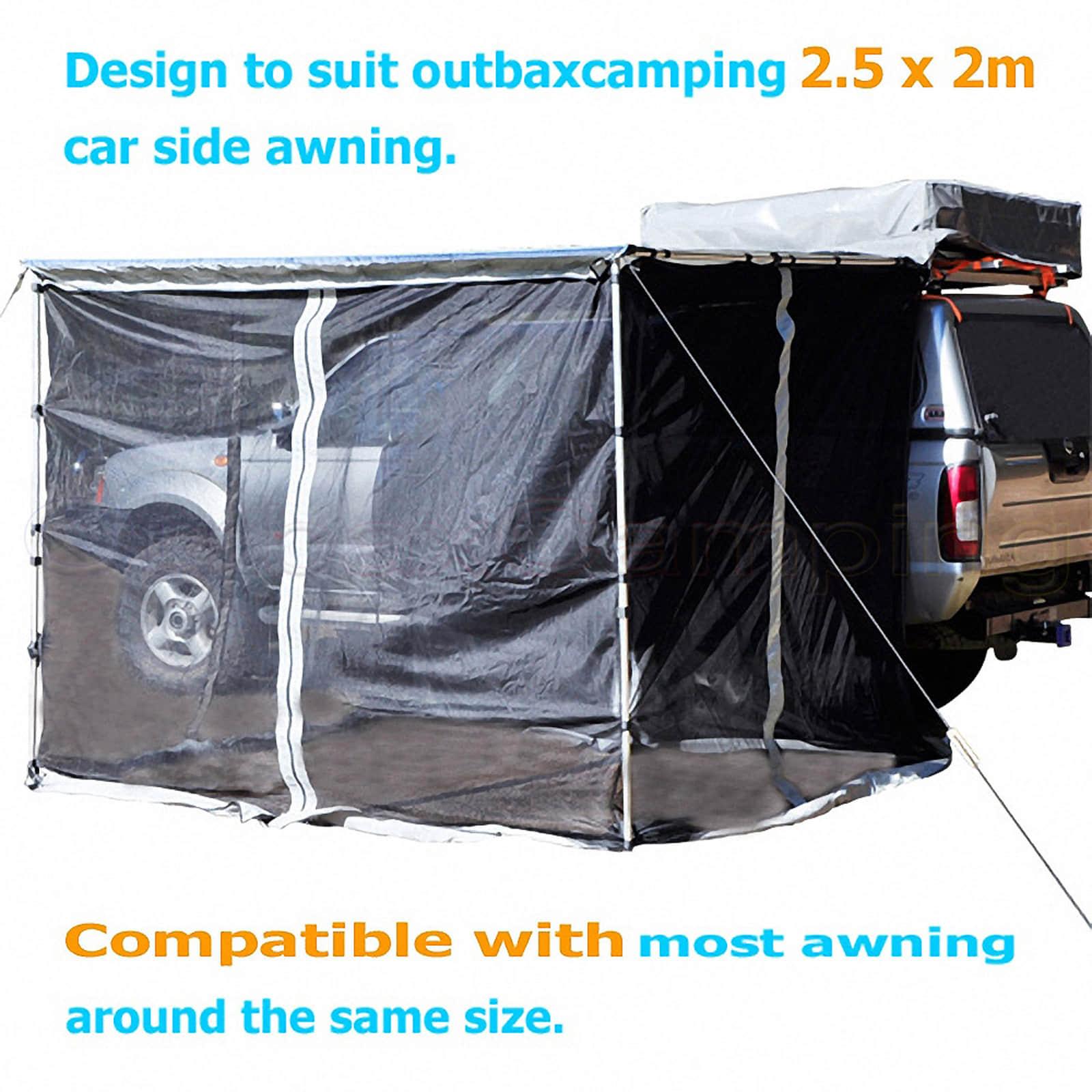 New MOSQUITO NET MESH for 2.5M AWNING ROOF TOP TENT CAMPER ...