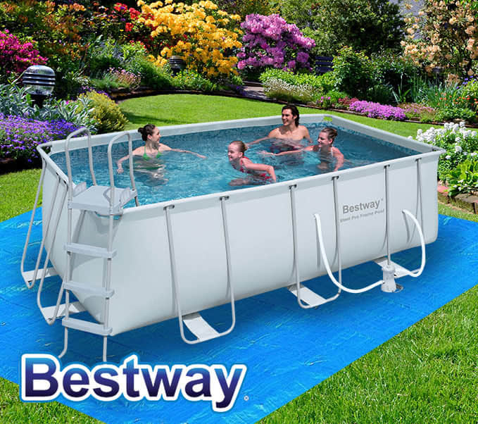 Bestway Above Ground Rectangular Swimming Pool Steel Pro Frame Sand Filter Pump Ebay