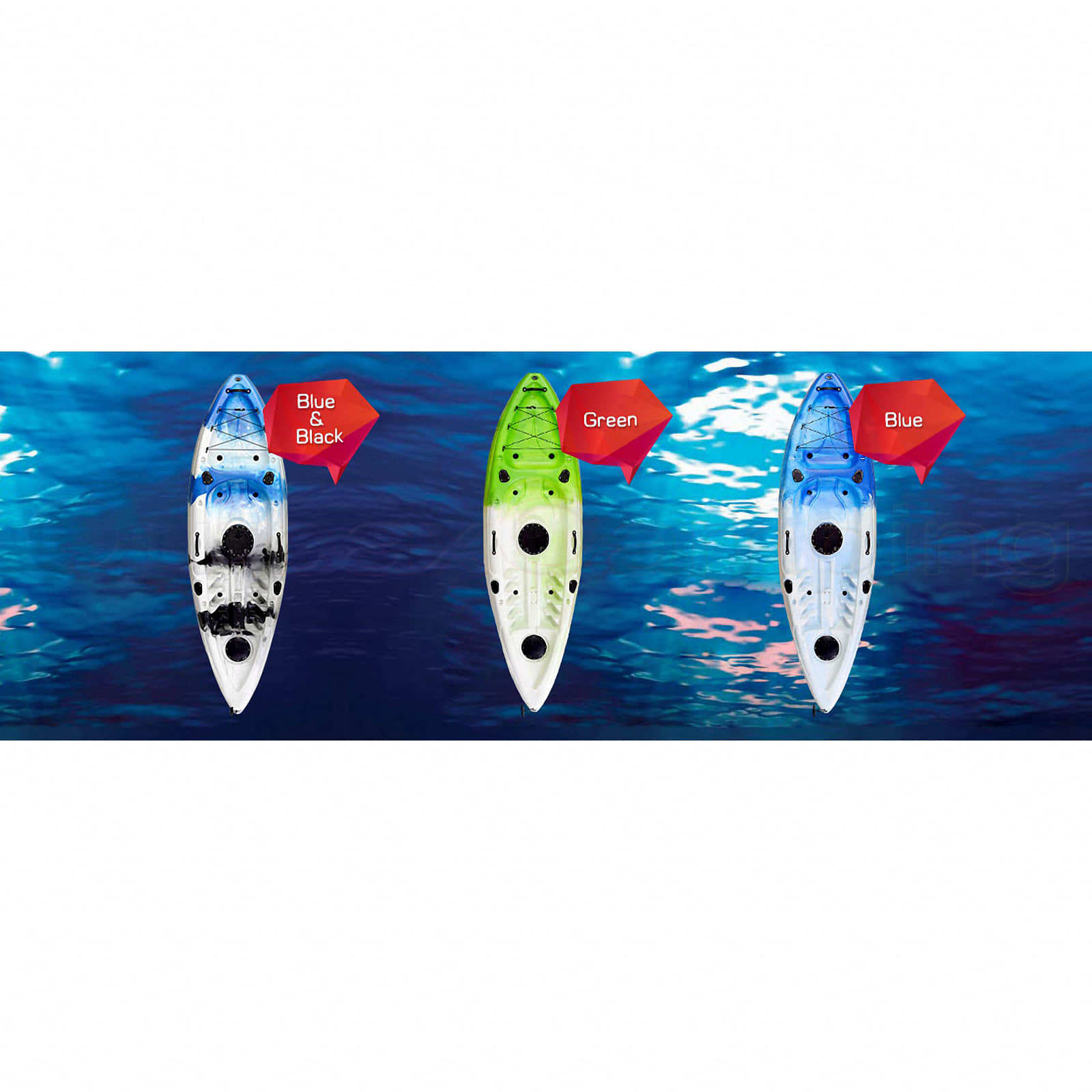 Single Fishing Kayak Sit On 5 Rod Holders Ocean Sea Canoe Camo Blue White Paddle