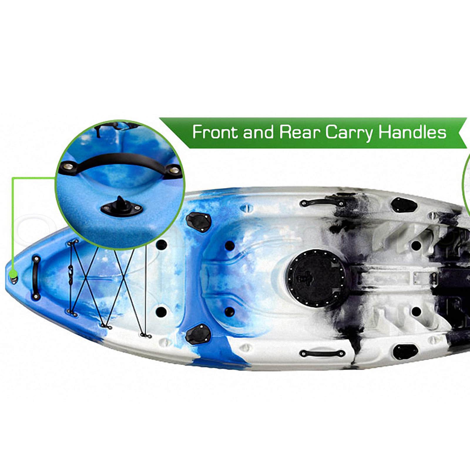 Single Fishing Kayak Sit On 5 Rod Holders Ocean Sea Canoe Camo Blue White Paddle