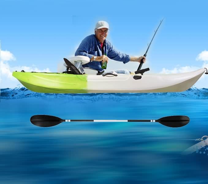 Single Fishing Kayak Sit On 5 Rod Holder Ocean Sea Canoe Camo Green White Paddle