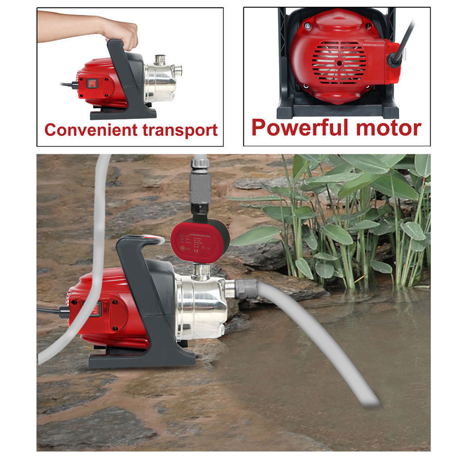 Matrix 1200w rain water tank pump stainless steel pressure switch irrigation ebay for Portable watering tanks for gardens