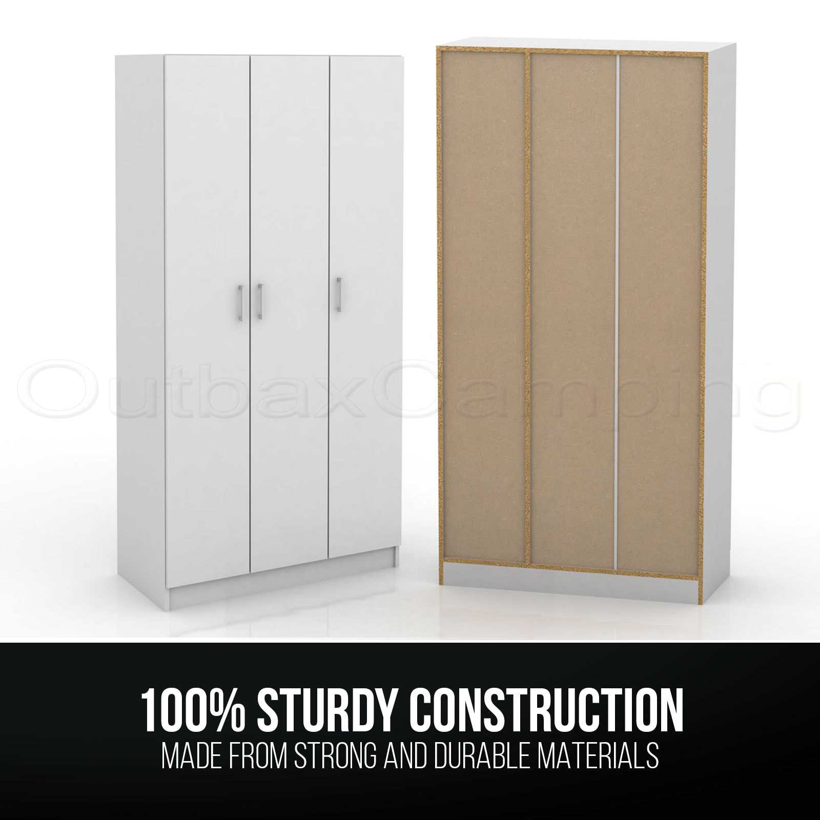 White 3 door bedroom wardrobe closet shelves rails shelf for One day doors and closets reviews