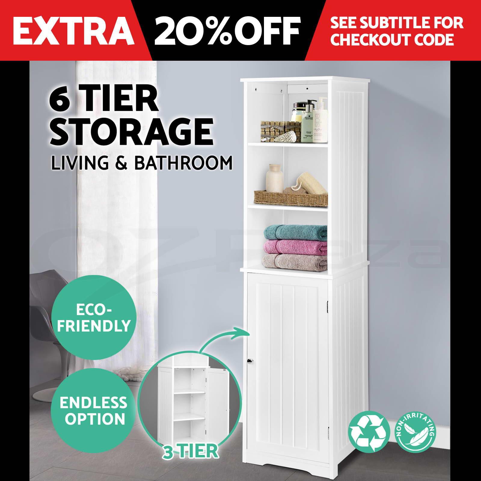 Bathroom Tallboy Furniture Toilet Storage Cabinet Laundry Cupboard ...