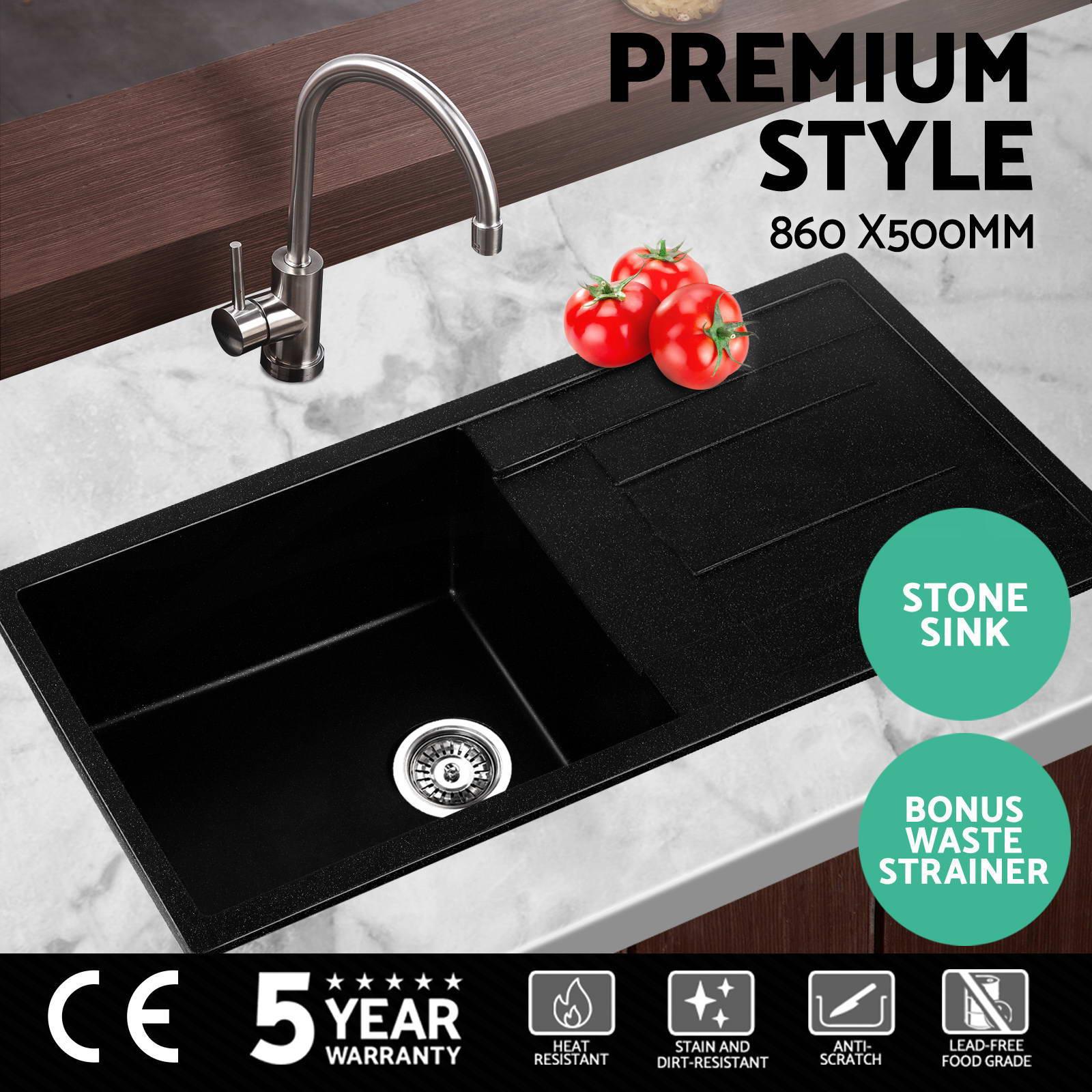 premium black kitchen sink granite stone top undermount single