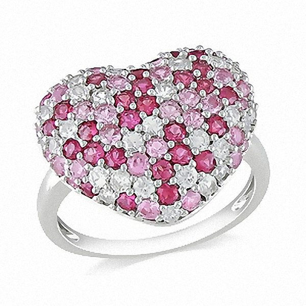New-Classic-Natual-Pink-White-Sapphire-925-Sterling-Silver-Heart-Cluster-Rings