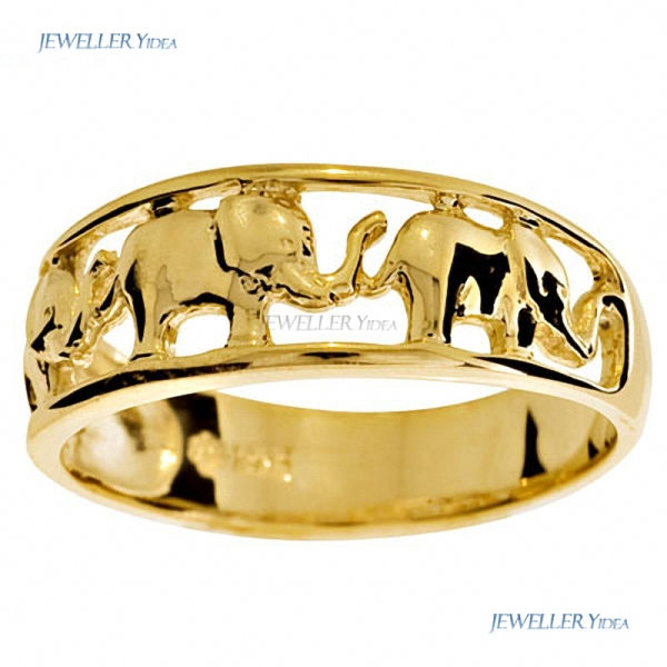 Plain-9ct-9k-Solid-Yellow-Gold-Elephant-Ring-Size-P-7-75-42607