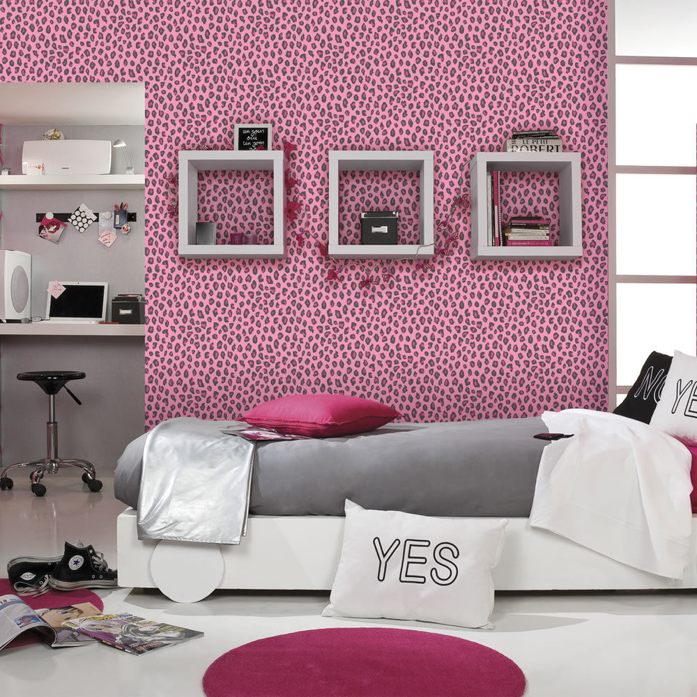 leopard print wallpaper animal print girls bedroom pink black salon