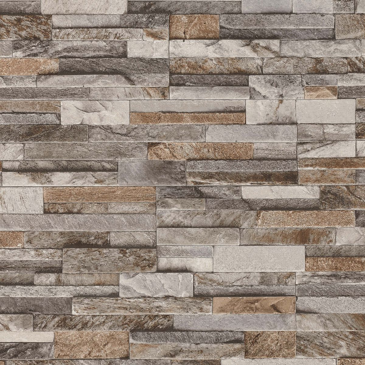 brick effect wallpaper 3d slate stone wall textured vinyl brown grey beige ebay. Black Bedroom Furniture Sets. Home Design Ideas