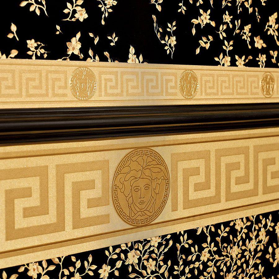 versace wallpaper  border gold black luxury satin modern designer  - versacewallpaperampbordergoldblackluxurysatin