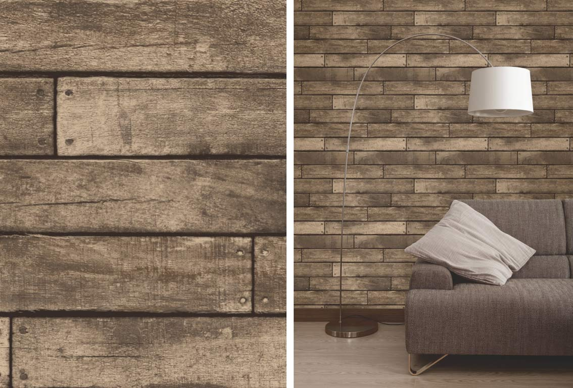 Fine Decor Brown Wooden Plank Realistic Wood Design 3d