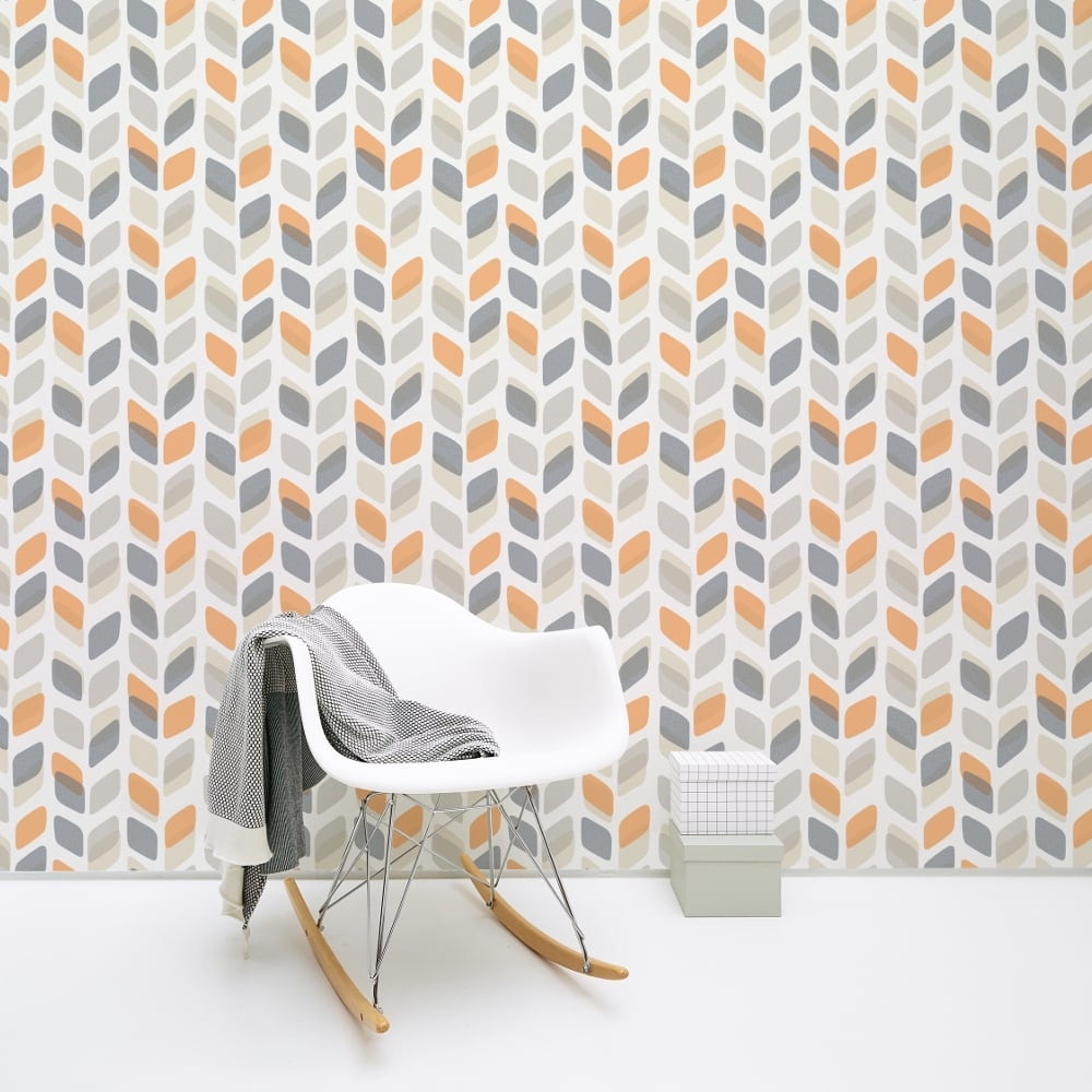 Retro 60s 70s wallpaper vintage geometric abstract leaf for Gray vinyl wallpaper