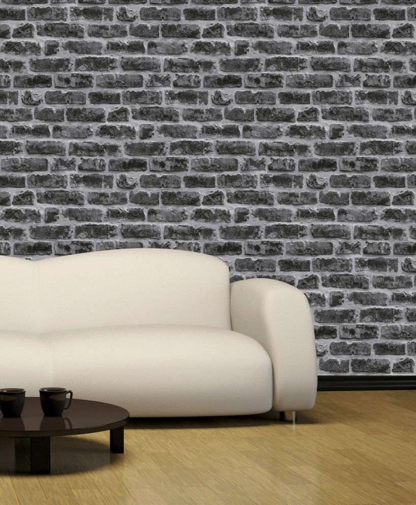 3d washable blown vinyl rustic brick effect wallpaper for Black 3d brick wallpaper