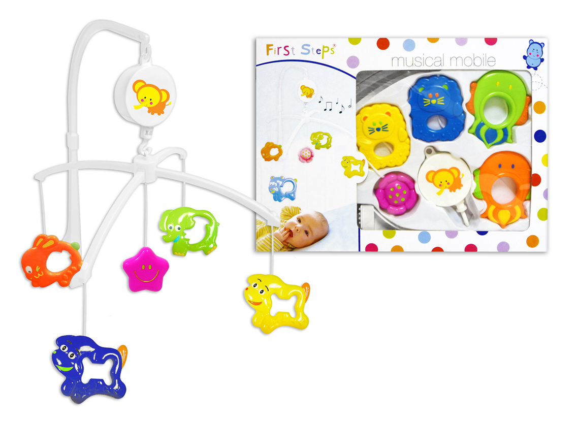 First steps baby cot musical mobile with fun animals for Baby shapes mobile