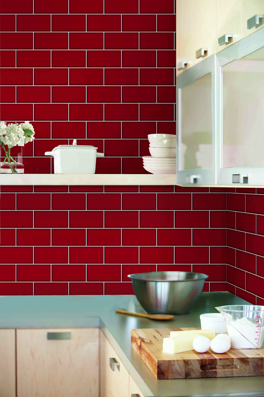 Red Brick Tiles Kitchen Ceramica New York Subway Tile Brick Wallpaper By Fine Decor